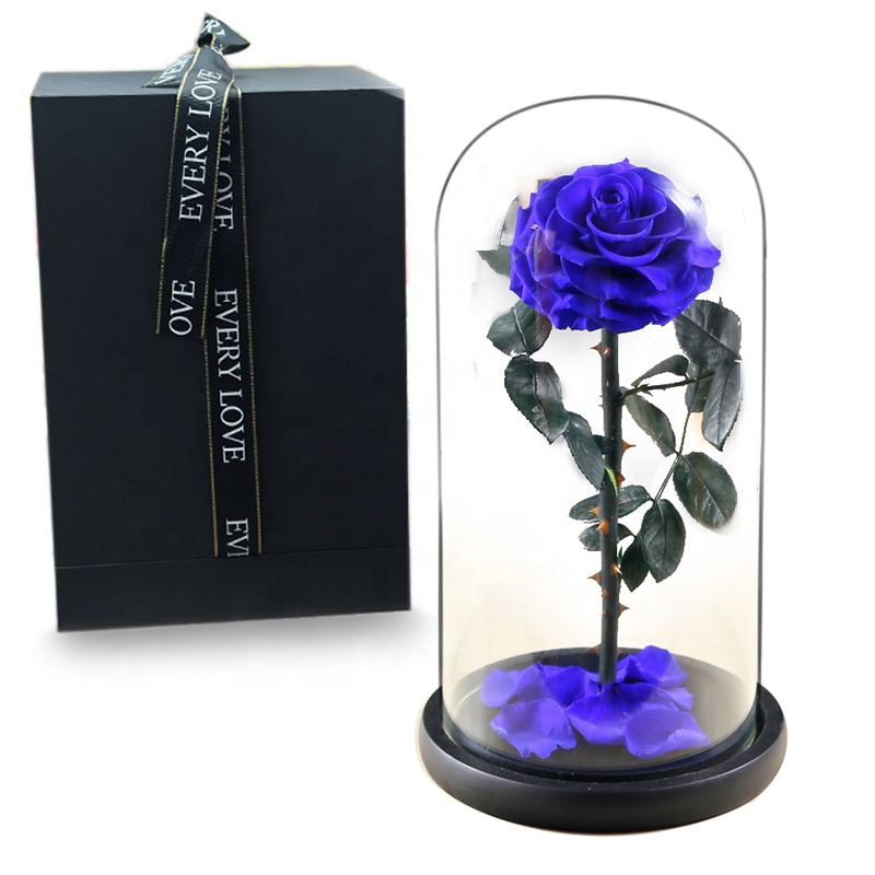 Dymalo Best Christmas Gift Roses Stabilized Preserved <strong>Flower</strong> Eternal Rose in Glass Dome