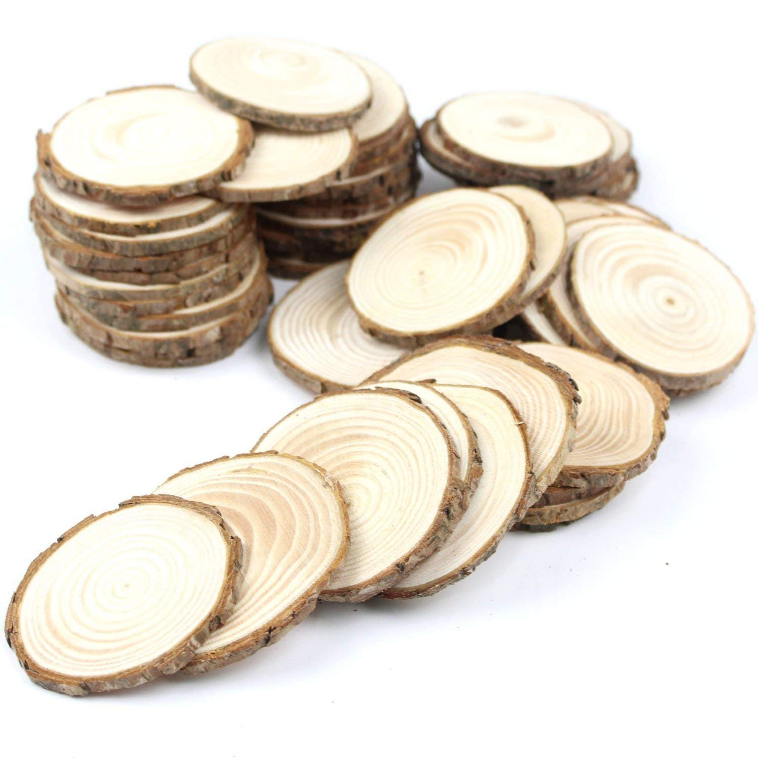 """40pcs 2""""-2.4"""" Unfinished Natural Blank Wood Slices Circles with Tree Bark Log Discs for DIY Craft Woodburning Christmas Rustic Wedding Ornaments 5.0 Out of 5 Stars 1 Customer Review"""