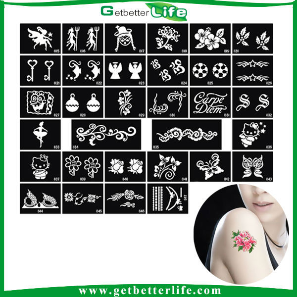 Getbetterlife 2014 New Temporary 5-7days keeping Glitter Stencils Fashionable Designs Glitter Tattoos