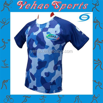 d7e760f7e2f Custom Sublimated Blue Camo Rugby Jersey - Buy Custom Sublimated ...