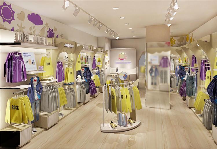 groothandel kleren winkel interieur mode bodysuit kinderkleding winkel interieur met verlichting