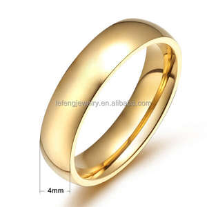 Stainless steel plain gold band ring,plain gold wedding bands ring jewelry