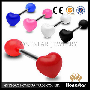 Cool Unique Sexy Heart Tongue Bar UV Ring Body Jewellery Barbell piercing jewelry