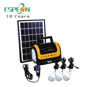 New product Solar panel powered 5W 9V 3pcs LED Portable Solar LED lighting System for home & family