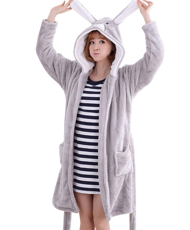 Get Quotations · Newtiu Womens Cute Animal Hooded Fleece Bathrobe Flannel  Pajamas Bath robes 24d551359