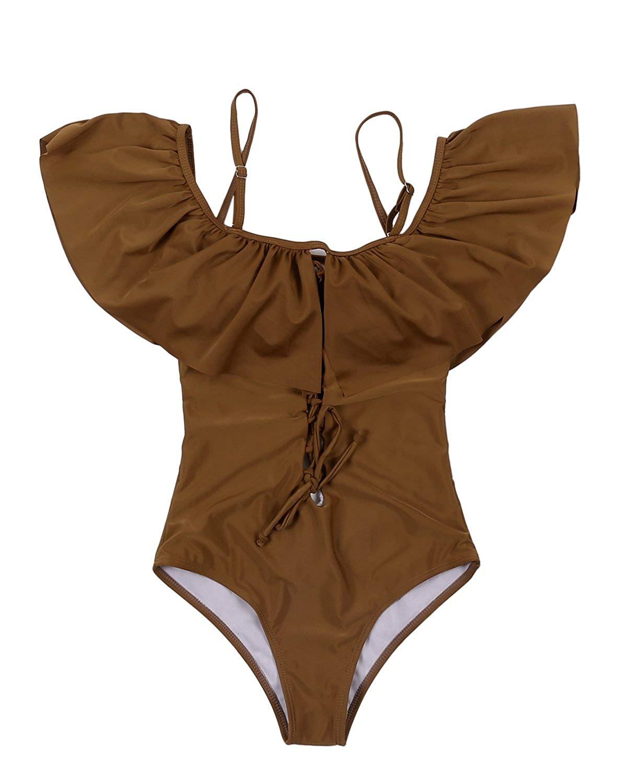 GAMISS Women's One Piece Padded Swimsuit Off Shoulder Solid Ruffle Bikini Swimwear Bathing Suit