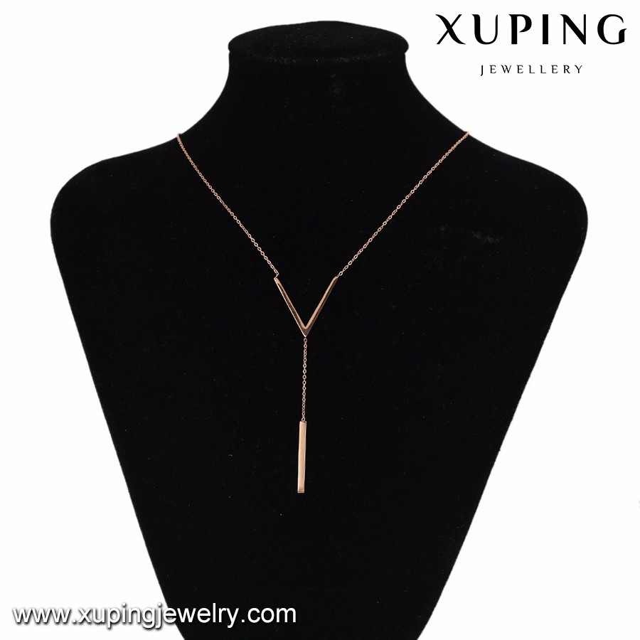 43488 Factory price v shaped letter gold bar necklace
