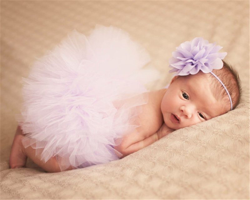Infant Baby Girls Newborn Flower Headband Tutu Skirt Costume Set Photo Props