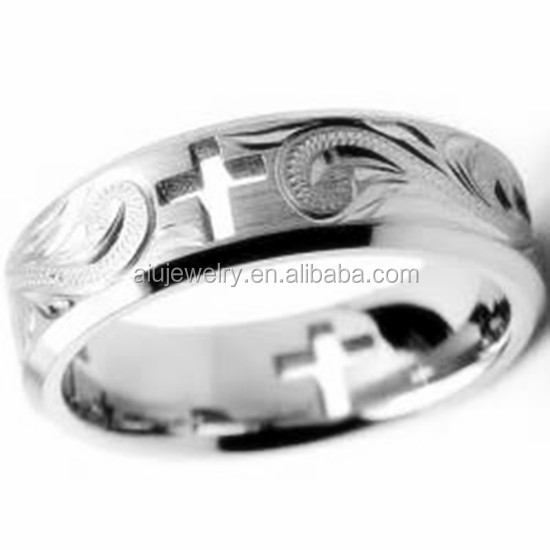 Customized 316 stainless steel Hawaiian scroll heritage men ring