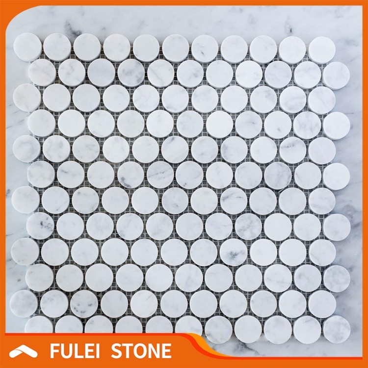 Cheap white carrara penny round marble mosaic tiles designs
