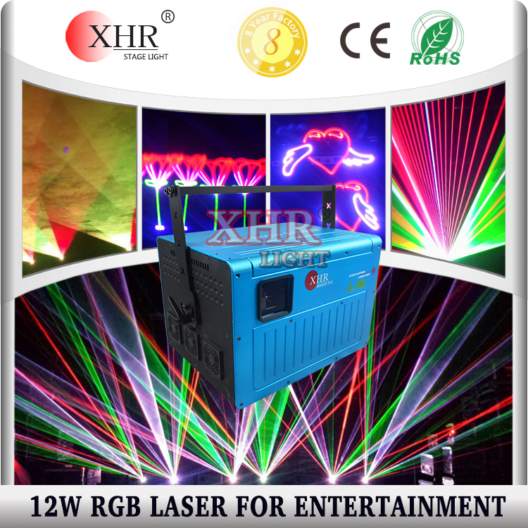 12w multicolor outdoor laser logo programmable projector/laser light show machine