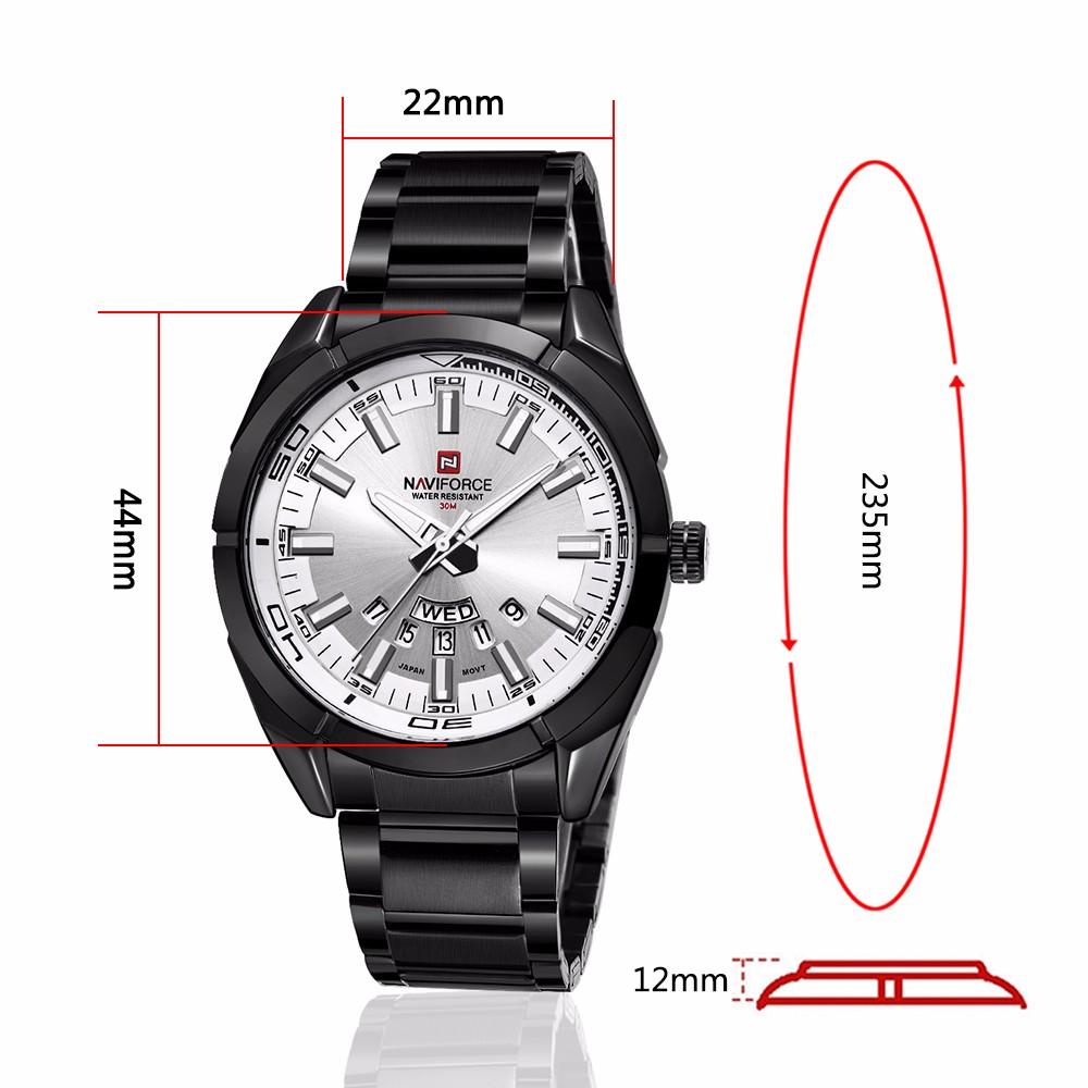 NAVIFORCE 9038 Mens นาฬิกาควอตซ์นาฬิกาปฏิทินสัปดาห์นาฬิกาสแตนเลส