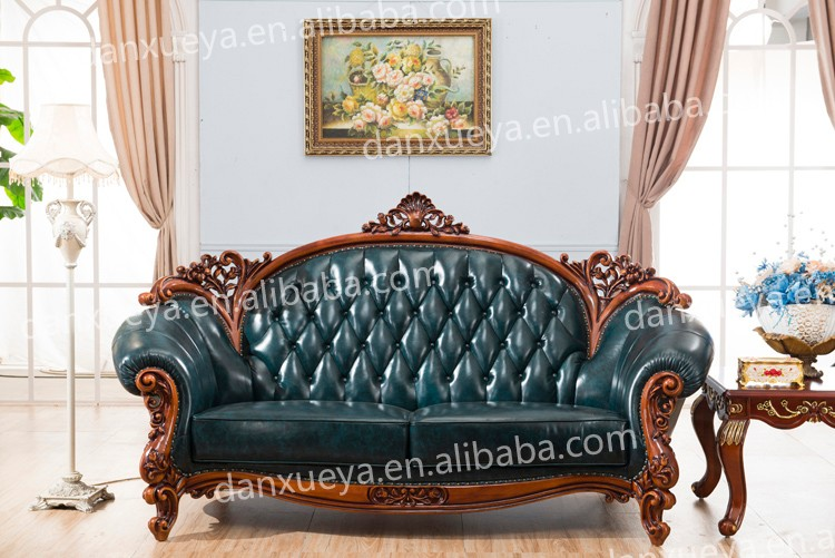 Imperial Italian Palace Hotel Room Leather Rococo Sofa