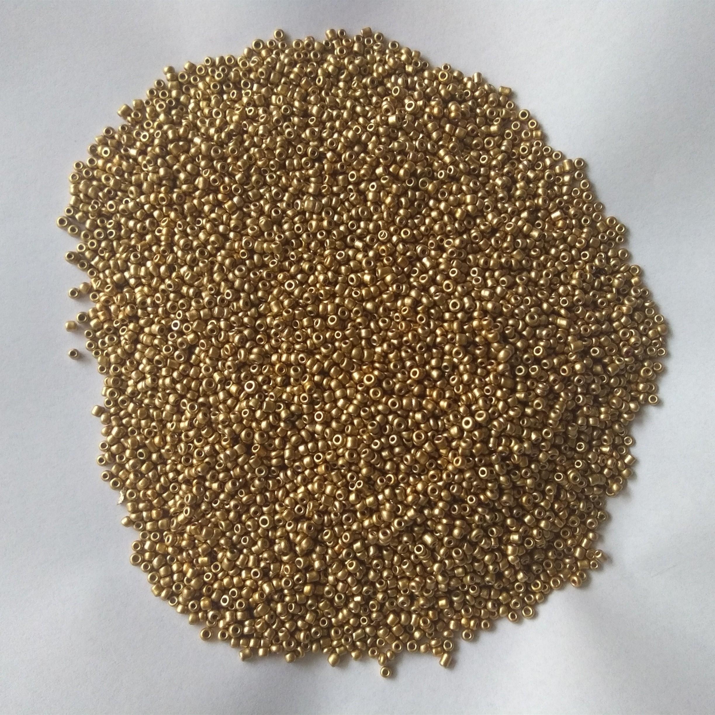 Commercio all'ingrosso in bulk 2 millimetri 3 millimetri 4 millimetri perfetto opaco oro perline di vetro di colore solido