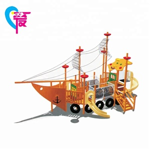HAT-007 New Design Wood Amusement Play Free Ship Slide Outdoor Playground Equipment