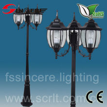 outdoor garden led light with black iron pole