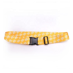 Woven custom logo polyester luggage tag strap with ID holder