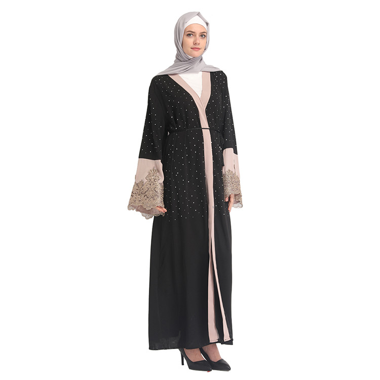 Stone Hot Sell Fashionable Pakistan Abaya Black Muslim Clothes In Turkey New Style Arabian Casual Thobe