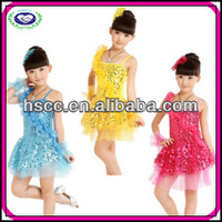 Dropship Luxury Sequin Wholesale Flower Latin Dance Costume for Girls
