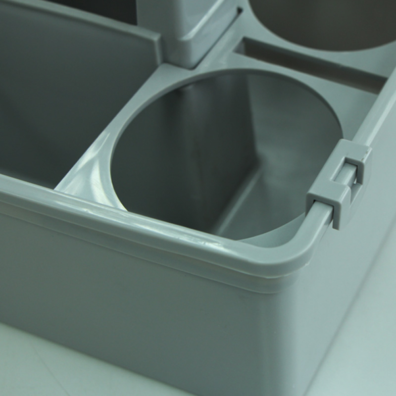 Multi-purpose Good Quality <strong>Plastic</strong> 32*23.5CM Grey Caddy basket with bottle holder