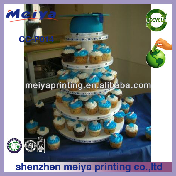 Custom disposable promotion cupcake pop stand,5 tier good quality cardboard cake display