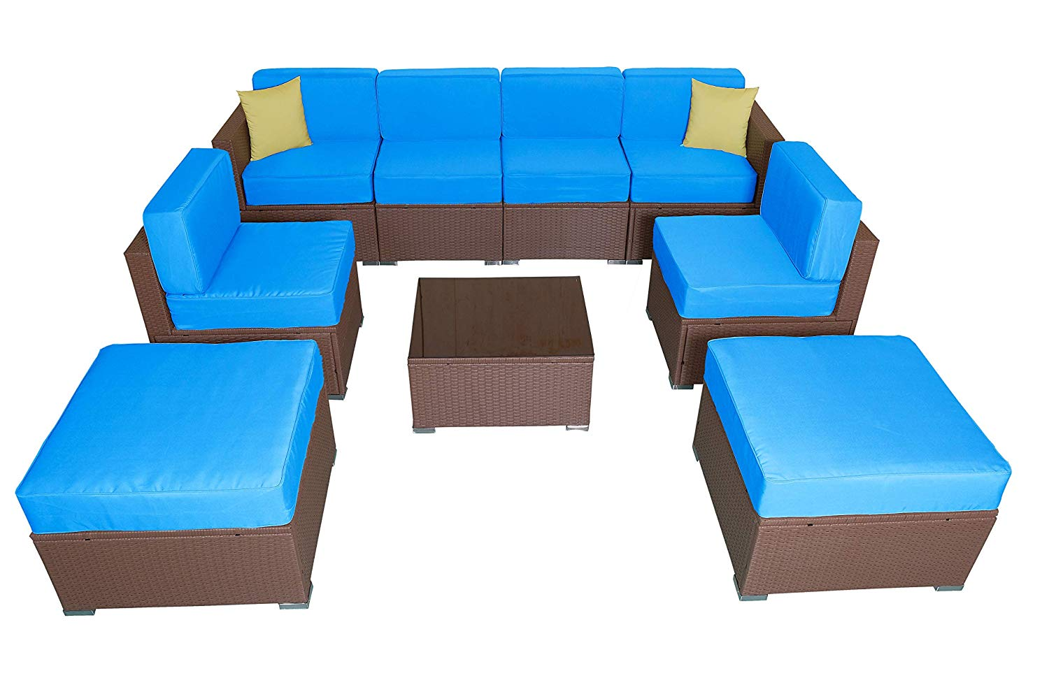 Get Quotations Mcombo 6082 9pc Ger Size Outdoor Furniture Luxury Patio Thick 6 Cushions Wicker