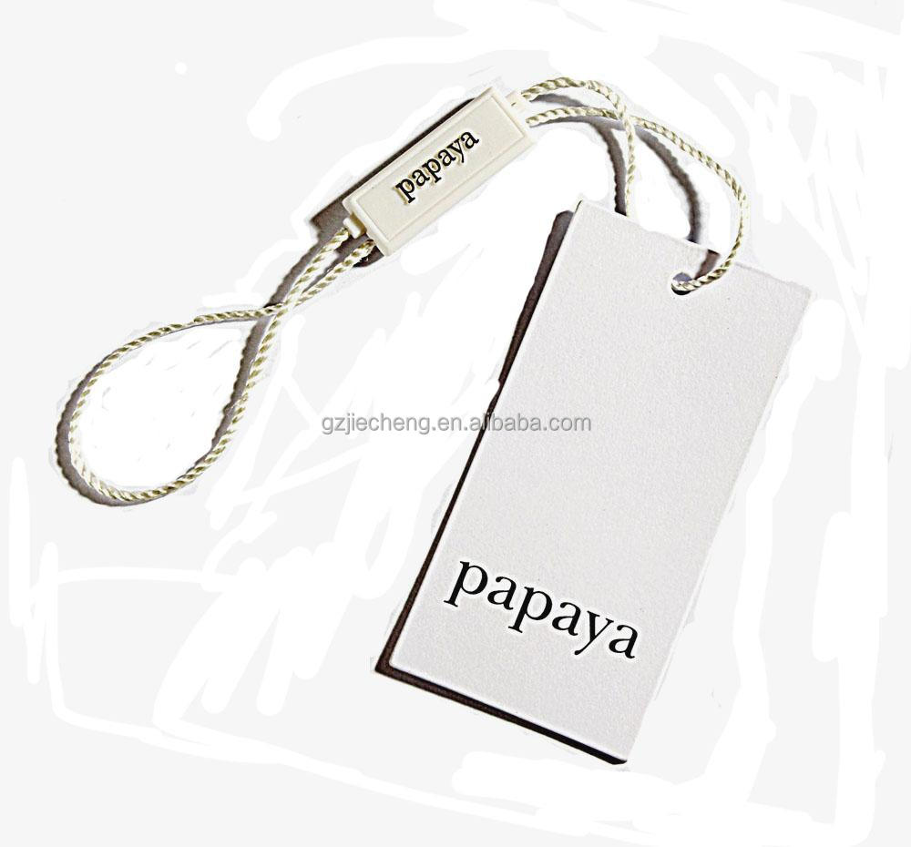 wholesale  private High quality garment kraft Paper custom white clothing swing garment tag with plastic cord  Hang tag