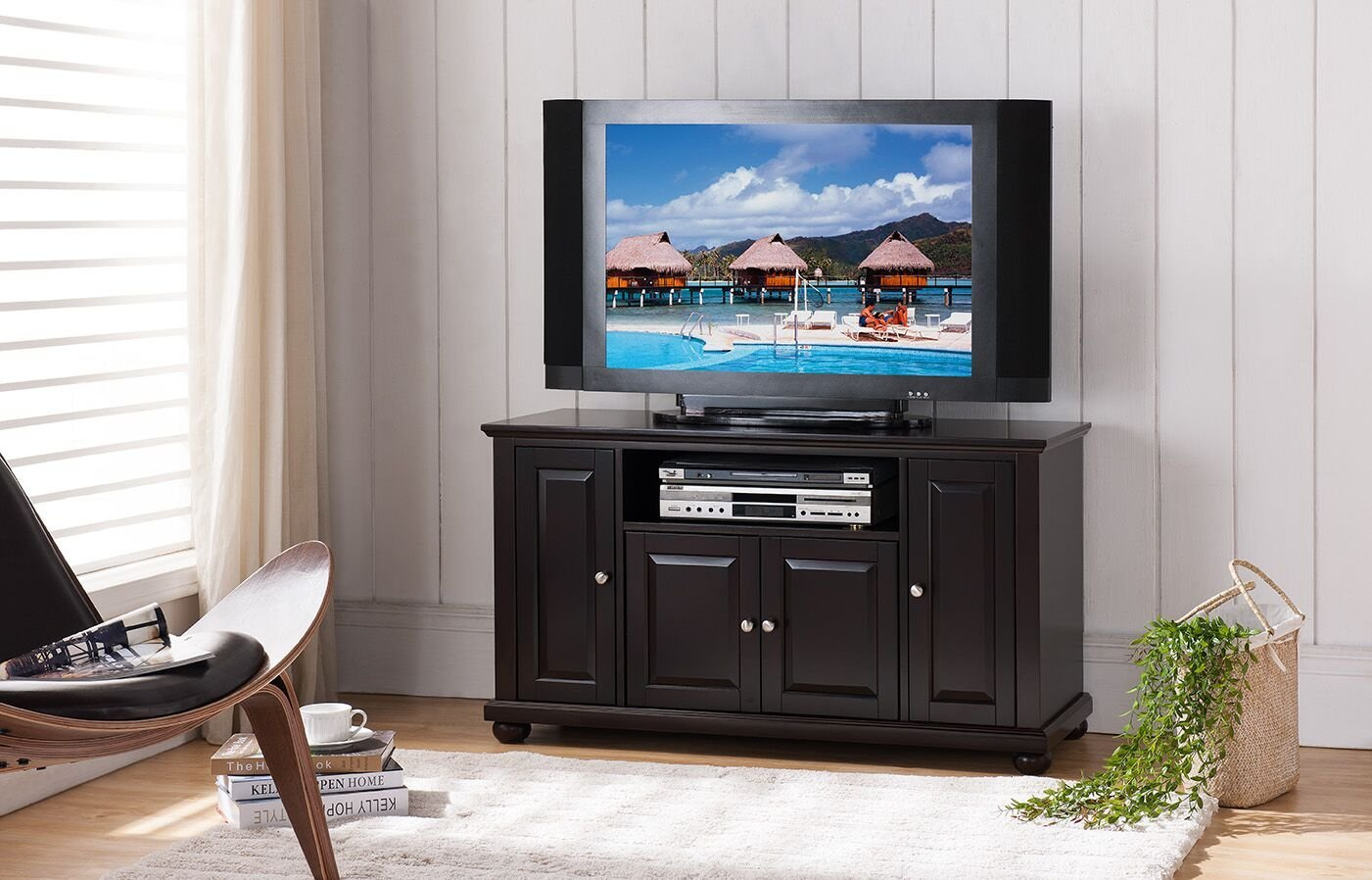 Get Quotations · Kings Brand Furniture Wood Console Table TV Stand, Dark  Cherry