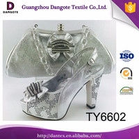 2017 newest silver wedding shoes, nigeria party shoes and bag set