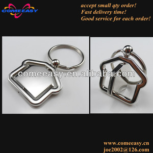 real estate opening gifts your logo house shape metal key chains