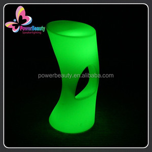Plastic moulded modern fancy rechargeable led glowing round bar table,led light bar table