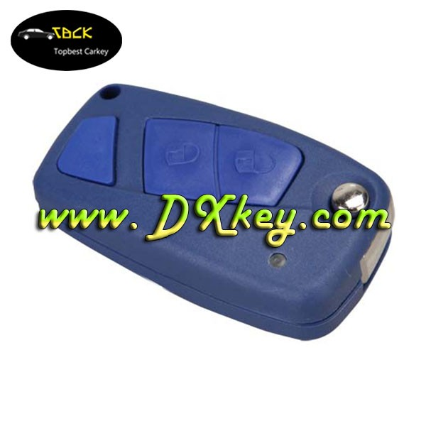 3 button flip key shell blank key car for Fiat key the third button is blank in blue SIP22 blade backside without battery door