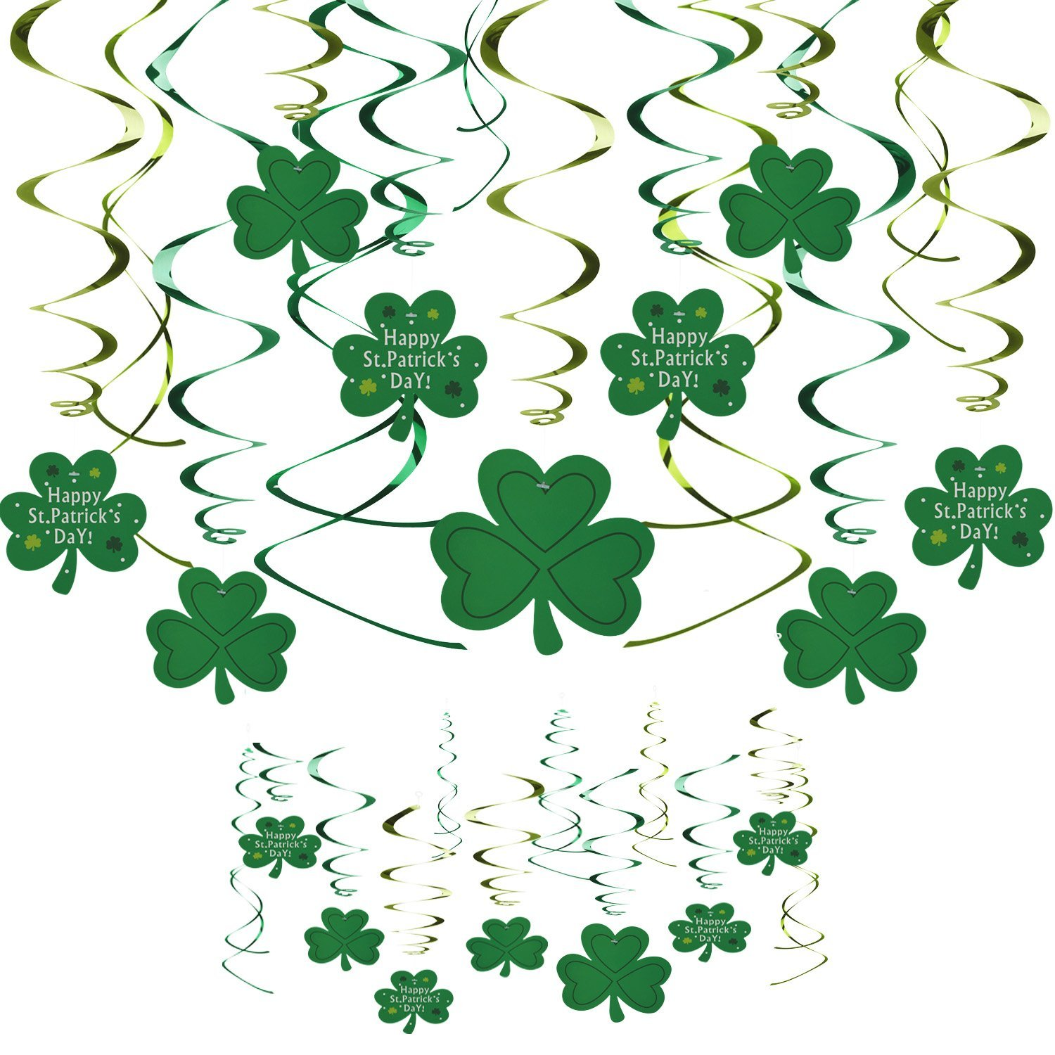 VIPITH Lucky Irish Green St. Patrick's Day Shamrock Foil String Hanging Swirl Decoration for Home Office and Party, Set of 30 Pieces