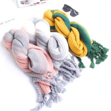 Korea design Fashionable long lady Women Knitting wholesale Pom Pom Scarves