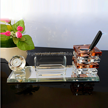 Crystal Desk Accessories With Clock