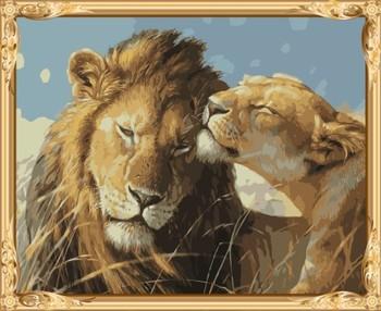 Gx7462 Mewarnai Dengan Angka Singa Kanvas Lukisan Minyak Dengan