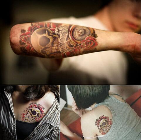 2016 Múltiples Estilos Impermeable 3d Tatuajes Temporales Grandes