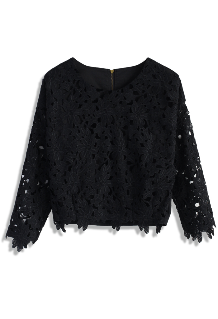 a59e45b12 2015 Latest Tops For Girls Flipped Flower Crochet Cutout Black ...