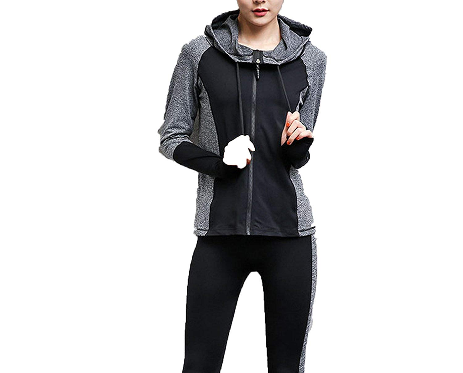Meet the beauty Women Athletic-Tracksuits 2 Piece Set Twinset Coats and Pants 2018 Summer Hooded Skinny Track Sportwear