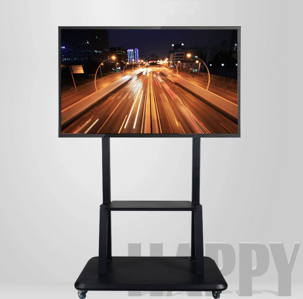 Homesickness Universal Mobile TV Cart for LCD LED Plasma Flat Panels Stand with 360° Locking Casters Fits 40''-80'' TV, Black (Adjustable Height)