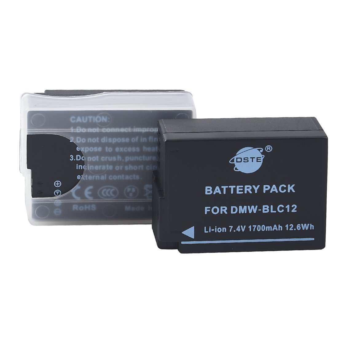 DSTE 2x DMW-BLC12 Replacement Li-ion Battery for Panasonic Lumix DMC-G5 G6 G7 GH2 GX8 FZ200 DMC-FZ2500 DMC-FZ2000 Leica Q Camera as DMW-BLC12E BP-DC12E