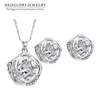 Neoglory Zircon Czech Rhinestone Cute Rose Jewelry Sets For Female Women Fashion Necklace Earrings Rose Gold Plated
