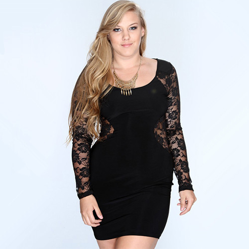 Plus Size Club Dresses 4XL Women Dress Summer 2015 Lace Long Sleeve Clubwear Party Dress Casual Black Sexy Women's Dress Hot New