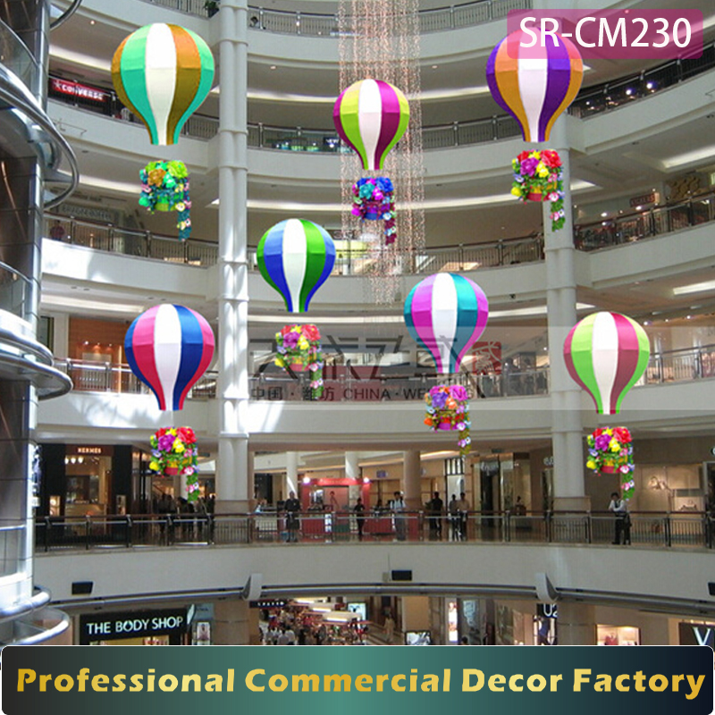 Custom commercial shopping mall atrium giant fire balloon decoration for Valentine day