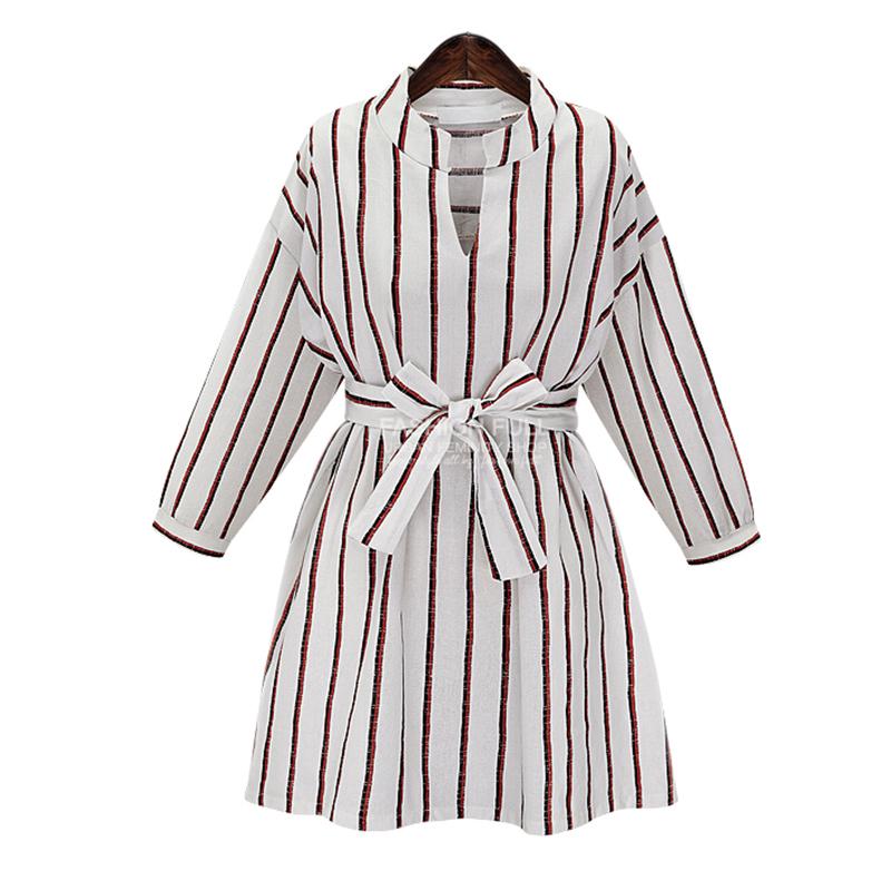 227fa9897b55 Buy Autumn T shirt Dress New Fashion 2015 V-neck Long Sleeve Striped Plus  Size Women Clothing Elegant Dress Vestidos 607-8802 in Cheap Price on  m.alibaba. ...