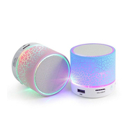 Led Light Bluetooth Round Mini 3W Portable BT Speaker with USB SD Card Slot
