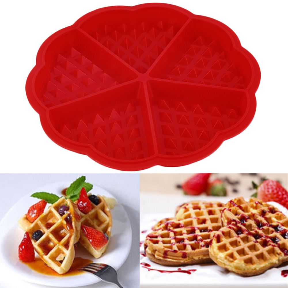 1 X Heart Shape Waffle Mold 5-Cavity Silicone Oven Pan Baking Cookie Cake Muffin Cooking Tools Kitchen Accessories Supplies