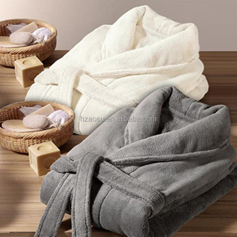 Plain Supersoft Fleece Dressing Gown / Bath Robe