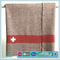 Shaoxing factory 100% wool/polyester/acrylic army blanket