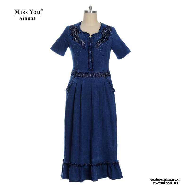ailinna 102929 blue knit washed denim long dress jean dress